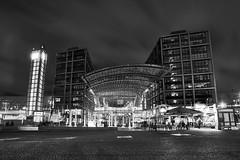 Hauptbahnhof (m1er) Tags: none berlin night architecture longexposure sony a6000 sigma tripod vanguard camera bright bw schwarzweis blackandwhite mainstation train hauptbahnhof