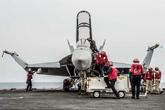 161013-N-OI810-191 (U.S. Pacific Fleet) Tags: ussronaldreagancvn76 fa18f vfa102 flightdeck invinciblespirit2016 csg5