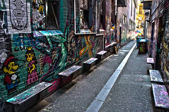 Croft Alley (Tom Supertramp) Tags: grafitty tag croft alley melbourne color canon 1100d bench mario pixel art street
