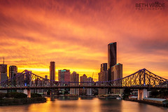 Brisbane on Fire (Beth Wode Photography) Tags: sunset sunsetclouds sunsetsky dusk sundown brisbane brisbanecity storybridge sunsetbridge brisbaneriver clouds beth wode bethwode landscape