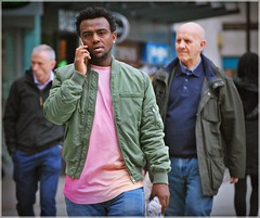 Pink shirt (1980blue Street) Tags: candid street queenstreet autumn sunny warm boy guy bloke man men cardiff caerdydd