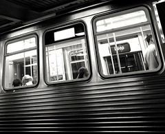 night train: 3 frames (williamw60640) Tags: streetphotography cityscenes urbanlife elevatedtrain publictransit chicago chicagoloop blackandwhitephotography city urban commuter