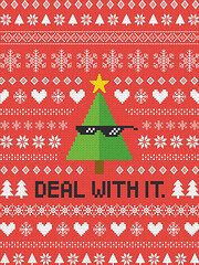 Deal with It. (NELSONICBOOM) Tags: christmas uglysweater uglychristmassweater xmas holiday pattern graphicdesign design print poster shirt shades meme dealwithit funny joke heart winter holidays red colorful snowflakes snow type text typography words deal it sweater alloverprint geometric weave woven bright cheerful sarcastic humor lol internet gif chill