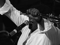 Hugh Masekela (Professor Bop) Tags: professorbop drjazz olympuse5 montrealjazzfestival montrealquebeccanada blackandwhite bw monochrome musician person man homme horn trumpeter hughmasekela