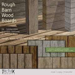 Trowix - Rough Barn Wood Planks Vend (Trowix) Tags: wood map sl textures secondlife normal tw seamless 1024 fullperm trowix trowixconcepts