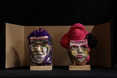 Box couple  2015 (Kazuko Tsukioka) Tags: sculpture wool paper square couple box ceremony yarn forehead