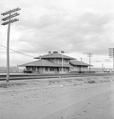 [Texas and New Orleans, Southern Pacific Railroad Station, Sierra Blanca, Texas] (SMU Central University Libraries) Tags: sp tno railroads railroadstations espee depots