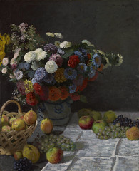 Still Life with Flowers and Fruit (Grandiloquences) Tags: flowers fruit pears 19thcentury mums monet grapes impressionism apples florals 1860s stilllifes asters vases claudemonet chrysanthemums tablecloths 1869 frenchart frenchartists frenchimpressionism frenchpainters