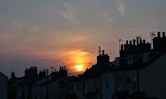 Chimney pot skyline silhouettes (Kirkleyjohn) Tags: sunset sky sun house silhouette clouds atardecer evening suffolk sonnenuntergang silhouettes pôrdosol chimneys coucherdusoleil chimneypots pakefield