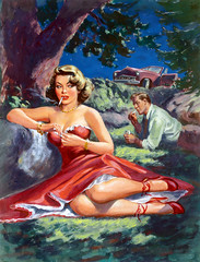 The Men She Knew by Rudy Nappi, 1951 (Tom Simpson) Tags: woman sexy illustration vintage painting noir crime pulp dame pinup pinupart pulpart rudynappi themansheknew