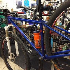Saw this when I was in REI last week. @outdoorslawyer this is still one of my favorites, I love this blue!  #weavercycleworks #custombicycles #loveit