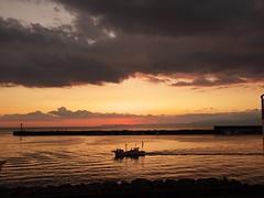 Numazu fishing port (elminium) Tags: sunset sea sky japan clouds port fisherman fishingboat shizuoka izu breakwater dmcg1
