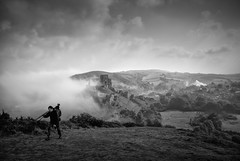 the toil of the passionate landscape photographer (stocks photography.) Tags: bw mist castle fog train landscape photographer stocks cinematic steamtrain corfecastle landscapephotography sedat maninthemist stocksphotography michaelmarsh thelandscapephotographer canon5dsr