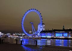 Reflected Eye (DncnH) Tags: blue light reflection london westminster wheel thames night river nightshot londoneye lambeth countyhall londonatnight westminsterpier