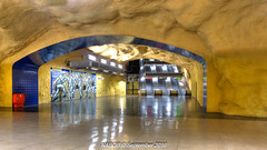 Stockholm, Sweden: Akalla Station, Line T-11 (Blue) (nabobswims) Tags: akalla escalator hdr highdynamicrange lightroom linet11 metro nabob nabobswims photomatix se sl sonya6000 station stockholm subway sweden tbana tunnelbana ubahn stockholmiän