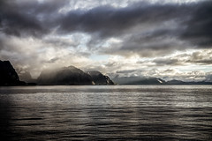 Sunrising on Lofoten islands (schechen) Tags: sky landscape fjord seascape sea sunrise morning beauty travel clouds water light daylight mountains norway lofoten islands summer blue sun lifestyle