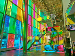 magic of colours..... (christikren) Tags: canada montreal rolltreppe color farben center metro messe terminal underground pink elevator colorfull stairs colorful travel beautifulcapture themagicofcolour christikren palaisdecongress bunt blue green building urban