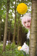 Moogle (AtelierRaza) Tags:  cosplay tree light green costume female outdoor anime manga people cloud hair coser video canon 50mm alsace cloudy strasbourg suit final fantasy square squaresoft squarenix mog moogle gradient ombre white pink yellow fluffy tights plush forest flowers dandelion  kupo