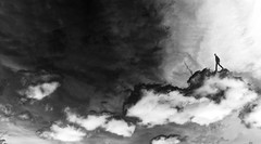 Cloudy promenade (DANTELO12) Tags: clouds sky poetry creative art promenade dream dreamscape imagination noir et blanc black white monochrome atmosphere silhouette surreal