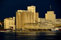 (Jean-Luc Lopoldi) Tags: eau adour paysbasque industry goldenlight sunset soleilcouchant silos lumiredore bton concrete soir evening