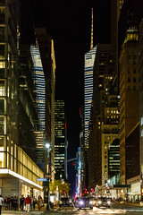 Golden City (skingld) Tags: 42ndstreet bankofamericatower madisonavenue manhattan midtown architecture building buildings city clear lights night outdoors pedestrians sky skyscraper stoplight urban vehicles