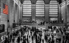 Grand Central Terminal, Selective Coloring (sapere18) Tags: 2016 grandcentralterminal manhattan newyork november autumn blackandwhite selectivecoloring