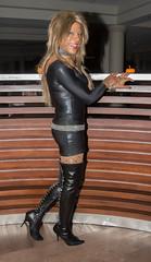 My Halloween Outfit! (kaceycd) Tags: crossdress tg tgirl lycra spandex wetlook leotard bodysuit miniskirt pantyhose fishnets fishnethose boots thighboots sexyboots patentleatherboots stilettoheels stilettos stilettoboots shinyboots s