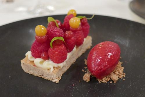 Rasberry Tartlett, Juniper Cream, Wild Rose Cake, Raspberry Sorbet