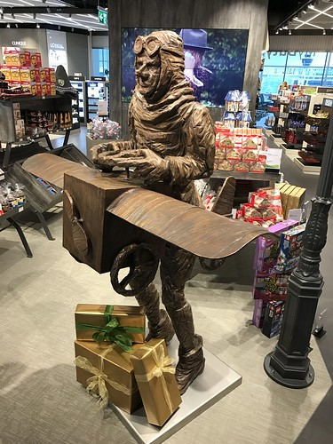 An aviator statue at the Munich airport today