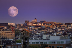 Super Moon over Baltimore (crabsandbeer (Kevin Moore)) Tags: night baltimore city cityscape evening innerharbor longexposure moon purple sky supermoon lunar harvestmoon huntersmoon urban sunset moonrise