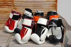 Gloved Up (jcbkk1956) Tags: thailand bangkok gym boxing gloves 18135mmf3556dx nikkor d80 nikon bench seat wooden worldtrekker muaythai