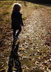 Strolling down the Avenue. (foggyray90) Tags: boy longhair jeans duffelcoat trainers foggyray90 shadow contrejour backlight leaves child autumn