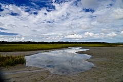 Sands Beach Port Royal South Carolina (Meridith112) Tags: sandsbeach portroyal beaufortcounty carolinas sc southcarolina south sand marsh reflection reflections sky bluesky clouds cloud beach summer august 2016 lowcountry nikon nikon2485 nikond610 batterycreek beaufortriver