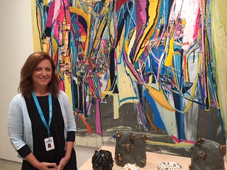 Gallery owner Mindy Solomon at her art Miami booth