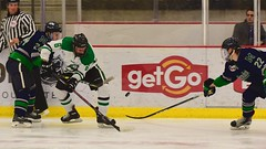 fancy footwork... (R.A. Killmer) Tags: sru hockey fast skate skill save skater talented ice green white stick college acha