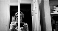 The self divided (Caroline Oades) Tags: reflection person human mobilephotography mobiography enlight iphoneography noir bw blackwhite bnw bathroom female woman fragmented twominds fractured divided selfdivided selfie self silly