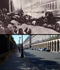 1944/2015 Rue de Rivoli (\Nicolas/) Tags: paris war shot louvre montage histoire tuileries guerre rivoli 1944 gunshot seconde meurice 2015 libration fusillade