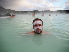 Doing my facial in The blue Lagoon!