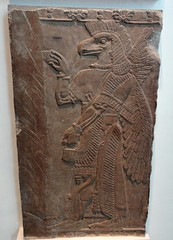 Eagle-headed protective spirit from Assyrian city of Nimrud (ca. 860 B.C.) (heffelumpen9) Tags: sculpture relief britishmuseum nimrud assyrianart neoassyrian ancientneareast wingedgenie bucketandcone