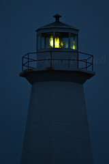 Cape Spear Lighthouse before Dawn 3 (LongInt57) Tags: blue sky lighthouse white canada black green yellow night newfoundland lens grey twilight dusk balcony gray railing catwalk capespear maingallery
