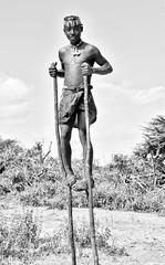 Stiltwalker, Banna, Ethiopia (Rod Waddington) Tags: africa blackandwhite monochrome mono african traditional culture valle tribal valley afrika omovalley ethiopia tribe ethnic stilts cultural stiltwalker ethnicity afrique ethiopian omo banna etiopia ethiopie etiopian