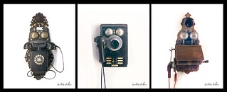 Teléfonos antiguos sorprendidos