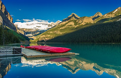 Lake Louise & Red Canoes (Cole Chase Photography) Tags: canada canon reflections canoes alberta lakelouise jaspernationalpark banffnationalpark t3i icefieldsparkway canadianrockies redcanoes