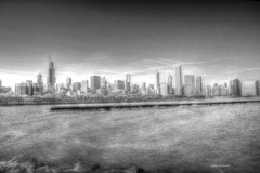 Downtown Chicago in black and white (Anton Shomali - Thank you for over 3 million views) Tags: downtown chicago black white bw lake sky building clouds sony dark town illinois usa us america bigcity supershot autofocus cubs