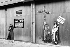 Experience (Simon Crubellier) Tags: europe england bw uk blackwhite londonist streetart graffiti simoncrubellier london britain blackandwhite camden meme pasteup crucifixion