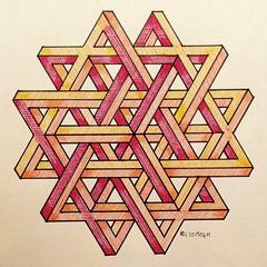 20150411a (regolo54) Tags: impossible isometric penrosetriangle geometry symmetry mathart regolo54 handmade star mandala intricate oscarreutersvrd escher