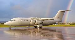 ZE708 Royal Air Force BAe146-200 @ Exeter Airport, Devon. (Sw Aviation) Tags: ze708 royal air force bae146 exeter airport devon avro rj 200