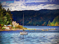 Peaceful Harbor (George Stenberg Photography) Tags: washingtonstate pacificnorthwest hoodcanal sailboat clouds water docks bouyant