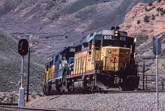 Eastbound switching at Echo, April 21, 1986 (blair.kooistra) Tags: unionpacific gp30 parkcity webercanyon ogden echo utah utahrailroads branchlinerailroads