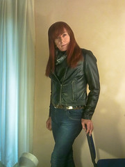 Picture 007 (Tonimacphee) Tags: jeans jacket scarf roll neck redhead ginger toni macphee november 2015 leather biker